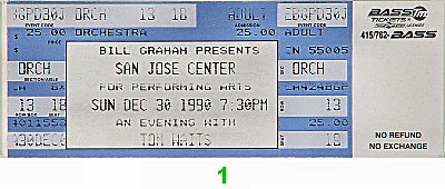 Tom Waits 1990s Ticket from San Jose Center for the Performing Arts on 30 Dec 90: Ticket One