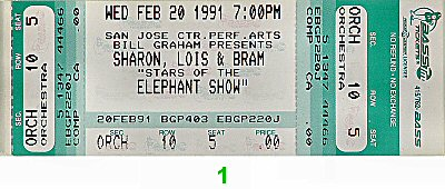 Sharon, Lois and Bram 1990s Ticket from San Jose Center for the Performing Arts on 20 Feb 91: Ticket One