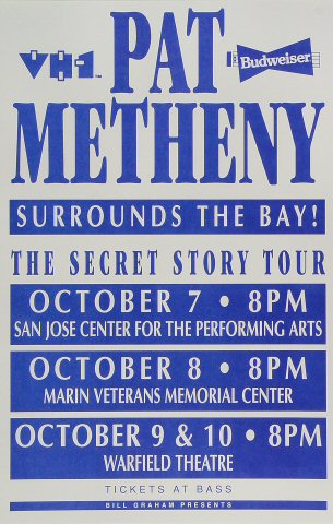 Pat Metheny Poster from San Jose Center for the Performing Arts on 07 Oct 92: 11&quot; x 17&quot;