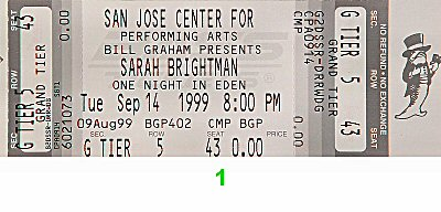 Sarah Brightman 1990s Ticket from San Jose Center for the Performing Arts on 14 Sep 99: Ticket One