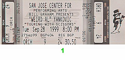 Weird Al Yankovic 1990s Ticket from San Jose Center for the Performing Arts on 28 Sep 99: Ticket One