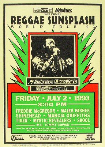 "Freddie McGregor Poster from Chene Park on 02 Jul 93: 14 1/2"" x 20 1/4"""