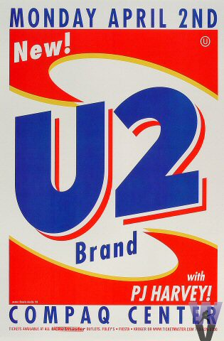 "U2 Poster from Compaq Center Houston on 02 Apr 01: 12 1/8"" x 18 1/8"""