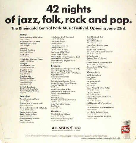 "Louis Armstrong Poster from Central Park on 23 Jun 67: 21"" x 22"""