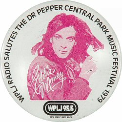 "Eddie Money Vintage Pin from Central Park on 04 Aug 79: 2 1/4"" x 2 1/4"" Pin"