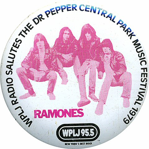 "The Ramones Vintage Pin from Central Park on 06 Aug 79: 2 1/4"" x 2 1/4"" Pin"
