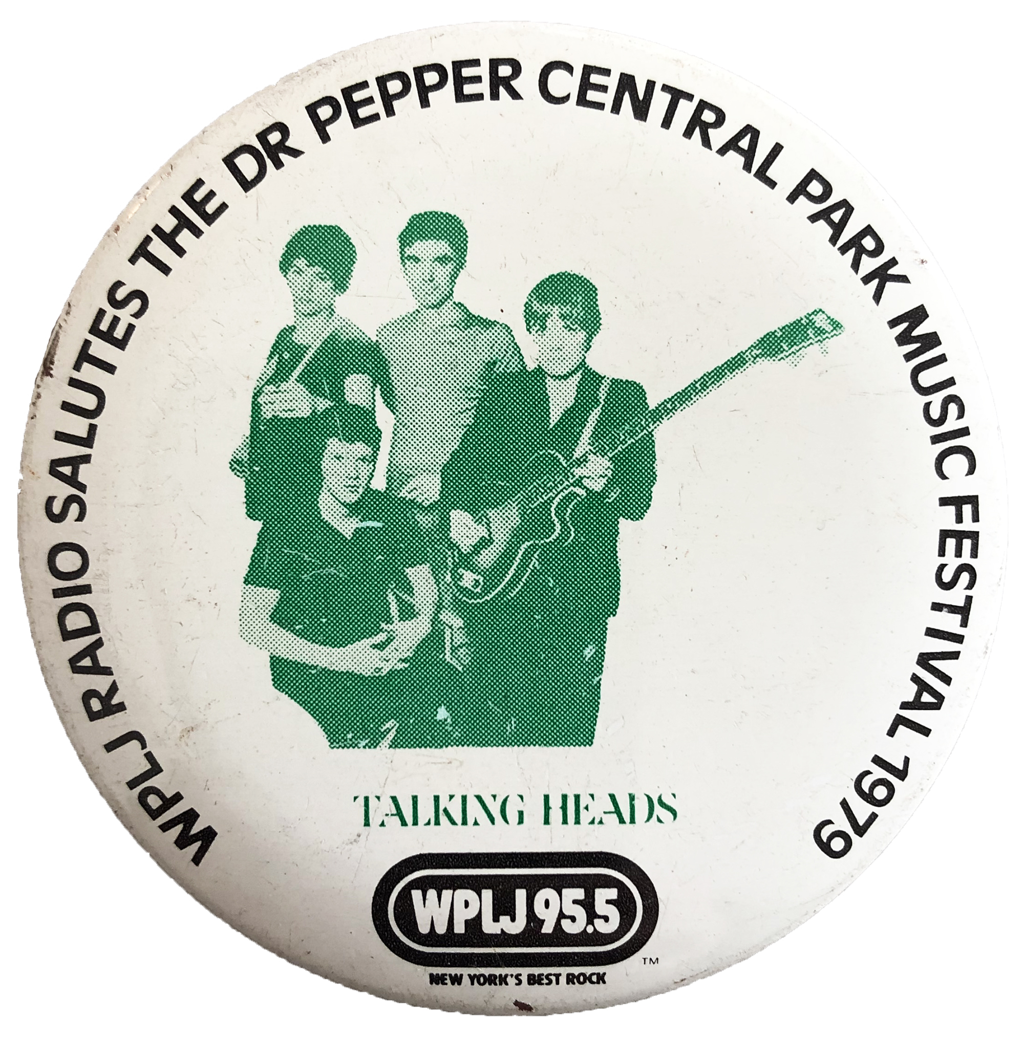 "Talking Heads Vintage Pin from Central Park on 10 Aug 79: 2 1/4"" x 2 1/4"" Pin"