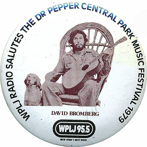 "David Bromberg Vintage Pin from Central Park on 15 Aug 79: 2 1/4"" x 2 1/4"" Pin"