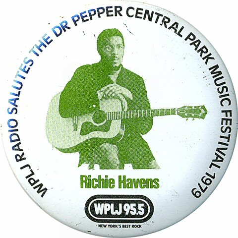 "Richie Havens Vintage Pin from Central Park on 20 Aug 79: 2 1/4"" x 2 1/4"" Pin"