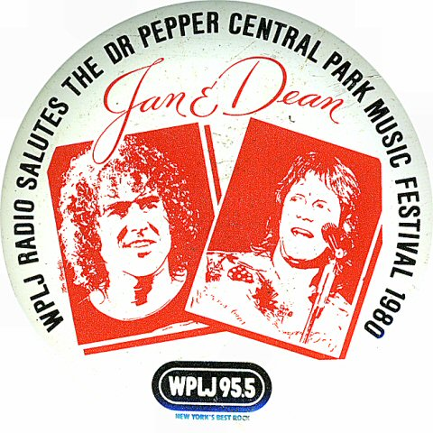 """Jan and Dean Vintage Pin from Central Park on 19 Jul 80: 2 1/4"""" x 2 1/4"""" Pin"""