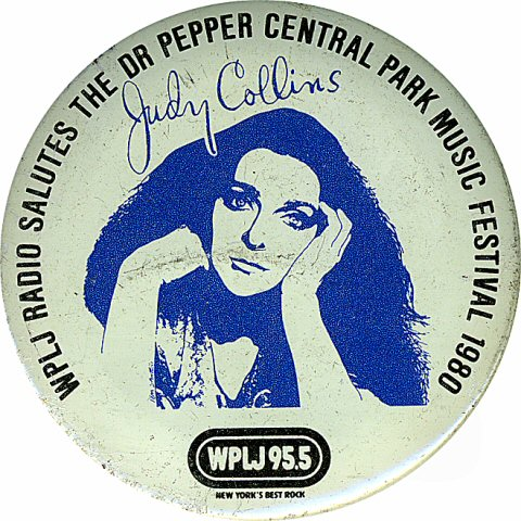 "Judy Collins Vintage Pin from Central Park on 23 Jul 80: 2 1/4"" x 2 1/4"" Pin"