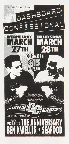 "Dashboard Confessional Handbill from Clutch Cargo's on 27 Mar 02: 4 1/4"" x 8 5/8"""