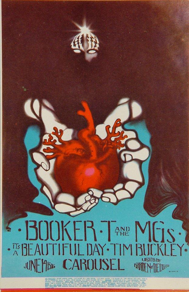 """Booker T. & the MG's Handbill from Carousel Ballroom on 14 Jun 68: 4 9/16"""" x 7"""""""