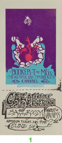 Booker T. & the MG's 1960s Ticket from Carousel Ballroom on 14 Jun 68: Ticket One Signed by Artist