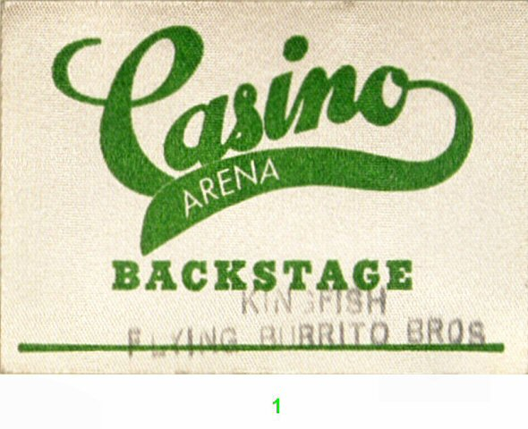 Kingfish Backstage Pass from Casino Arena on 31 Jul 76: Pass 1