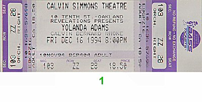 Yolanda Adams 1990s Ticket from Calvin Simmons Theatre on 16 Dec 94: Ticket One