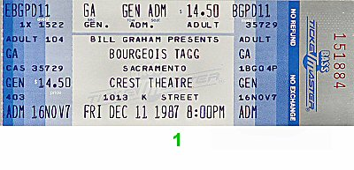 Bourgeois Tagg 1980s Ticket from Crest Theatre on 11 Dec 87: Ticket One