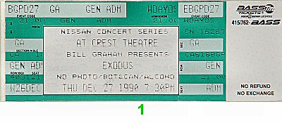 Exodus 1990s Ticket from Crest Theatre on 27 Dec 90: Ticket One