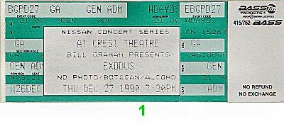 Exodus 1990s Ticket from Crest Theatre on 27 Dec 90: Ticket One