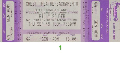 Billy Squier 1990s Ticket from Crest Theatre on 19 Sep 91: Ticket One