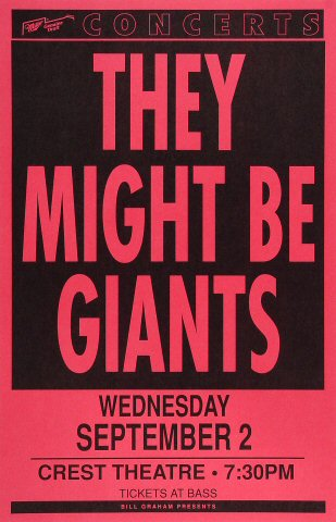 "They Might Be Giants Poster from Crest Theatre on 02 Sep 92: 11"" x 17"""