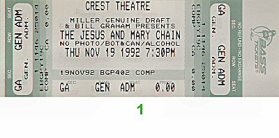 The Jesus & Mary Chain 1990s Ticket from Crest Theatre on 19 Nov 92: Ticket One