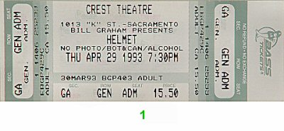 Helmet 1990s Ticket from Crest Theatre on 29 Apr 93: Ticket One