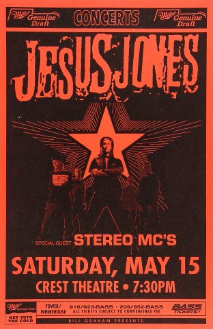 "Jesus Jones Poster from Crest Theatre on 15 May 93: 11"" x 17"""