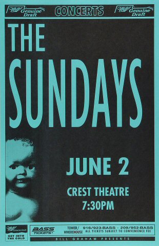 "The Sundays Poster from Crest Theatre on 02 Jun 93: 11"" x 17"""