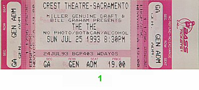 The The 1990s Ticket from Crest Theatre on 25 Jul 93: Ticket One