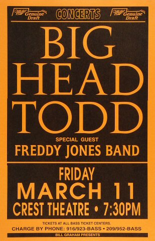"Big Head Todd & The Monsters Poster from Crest Theatre on 11 Mar 94: 11"" x 17"""