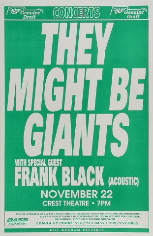 "They Might Be Giants Poster from Crest Theatre on 22 Nov 94: 11"" x 17"""