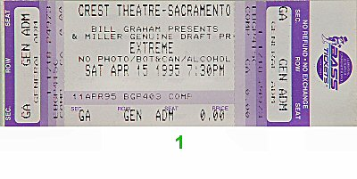 Extreme 1990s Ticket from Crest Theatre on 15 Apr 95: Ticket One