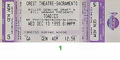 Toadies 1990s Ticket from Crest Theatre on 13 Dec 95: Ticket One