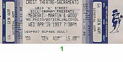 Medeski Martin & Wood 1990s Ticket from Crest Theatre on 16 Apr 97: Ticket One