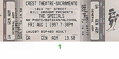 The Specials 1990s Ticket from Crest Theatre on 01 Aug 97: Ticket One