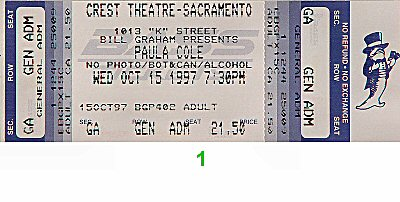Paula Cole 1990s Ticket from Crest Theatre on 15 Oct 97: Ticket One