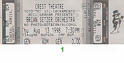 Brian Setzer Orchestra 1990s Ticket from Crest Theatre on 13 Aug 98: Ticket One