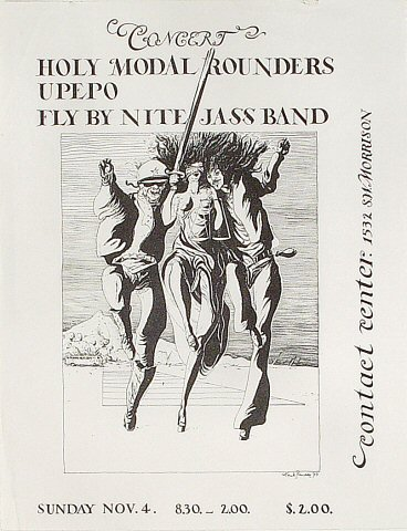 "The Holy Modal Rounders Handbill from Contact Center on 04 Nov 73: 8 1/2"" x 11"""