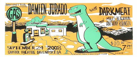 "Damien Jurado Poster from Capitol Theatre Davenport on 24 Sep 08: 7 1/2"" x 18"""