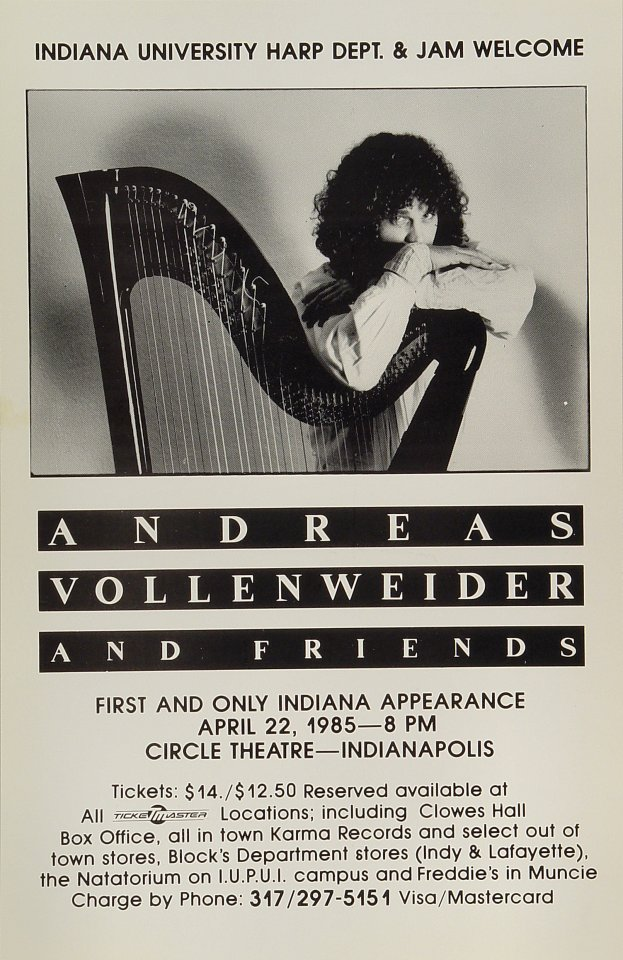 "Andreas Vollenweider Poster from Circle Theatre on 22 Apr 85: 11"" x 17"""