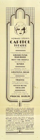 "Grand Funk Railroad Handbill from Capitol Theater on 19 Jun 70: 5"" x 17"""
