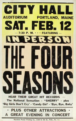 "The Four Seasons Poster from City Hall Auditorium on 12 Feb 66: 14 1/8"" x 22"""