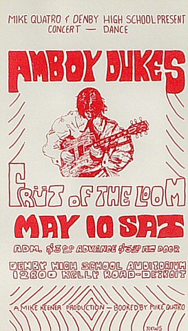 "The Amboy Dukes Handbill from Denby High School on 10 May 69: 4 3/8"" x 7 5/8"""