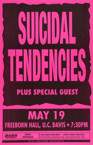 "Suicidal Tendencies Poster from Freeborn Hall on 19 May 93: 11"" x 17"""