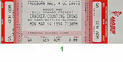 Cracker 1990s Ticket from Freeborn Hall on 14 Mar 94: Ticket One