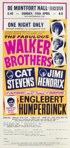 "The Walker Brothers Handbill from De Montfort Hall on 16 Apr 67: 5 1/2"" x 11 1/2"""
