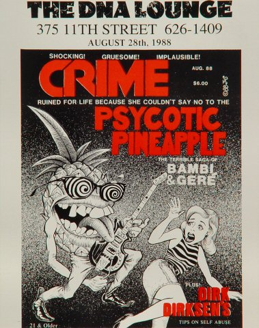 """Crime Handbill from DNA Lounge on 28 Aug 88: 4 5/16"""" x 5 1/2"""""""