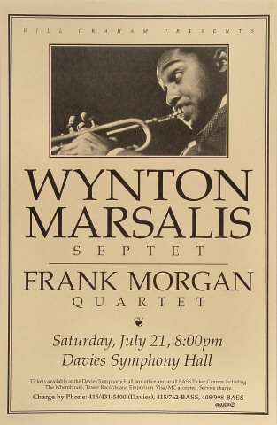 "Wynton Marsalis Septet Poster from Davies Symphony Hall on 21 Jul 90: 11"" x 17"""