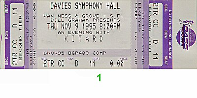 Kitaro 1990s Ticket from Davies Symphony Hall on 09 Nov 95: Ticket One